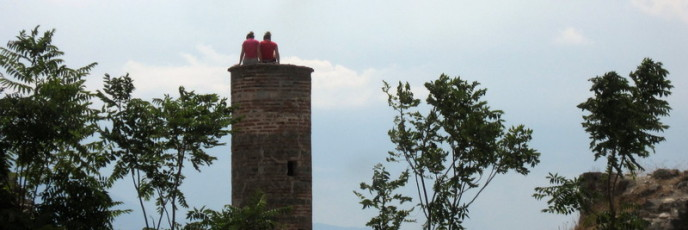 Girls on top of the minaret